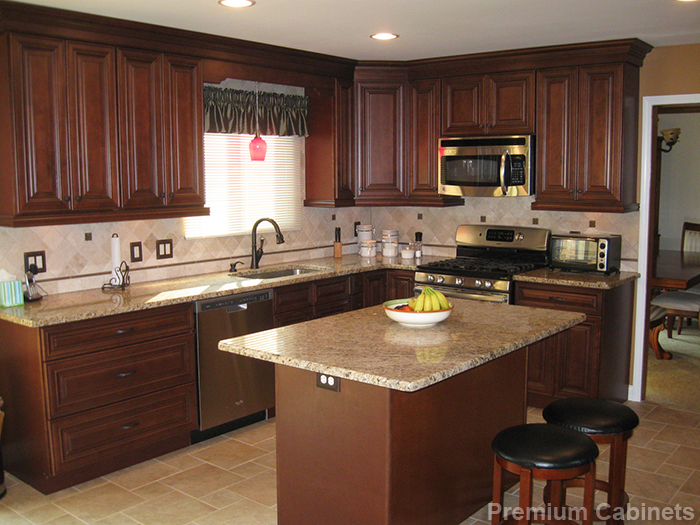 Saddle Brown Kitchen Cabinets