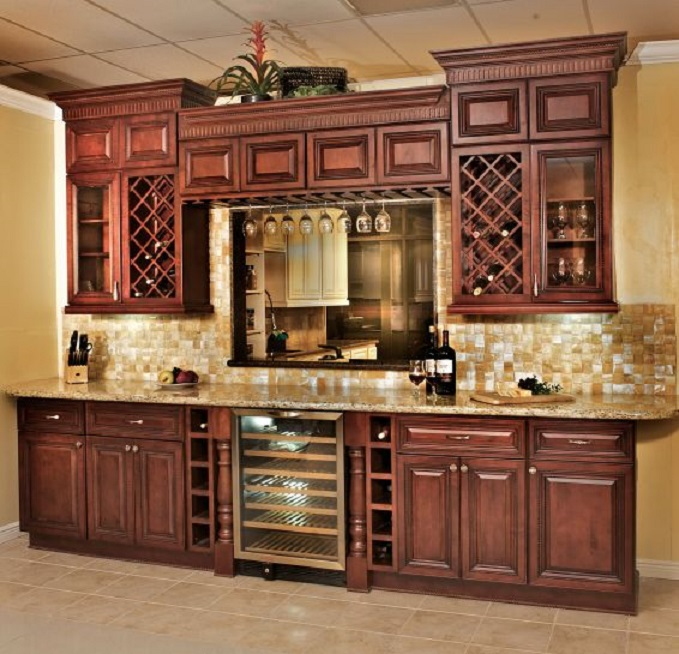 Cherry Cabinets With Rope Design Premium Cabinets