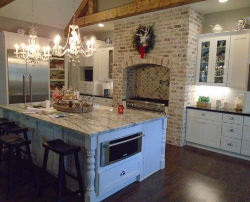 White Shaker Cabinets and Kitchen Island