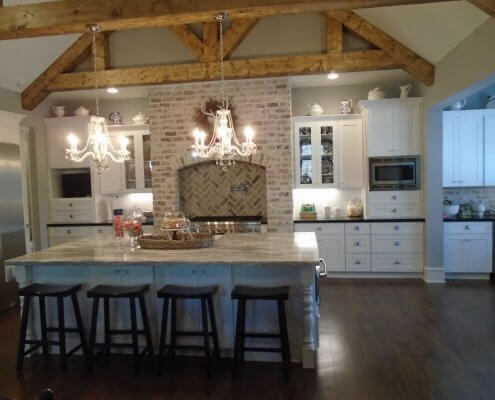 White Shaker Cabinets in Large Kitchen