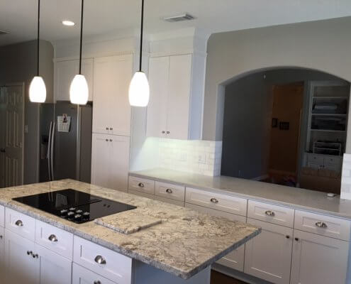 White Shaker Cabinets on Kitchen Island