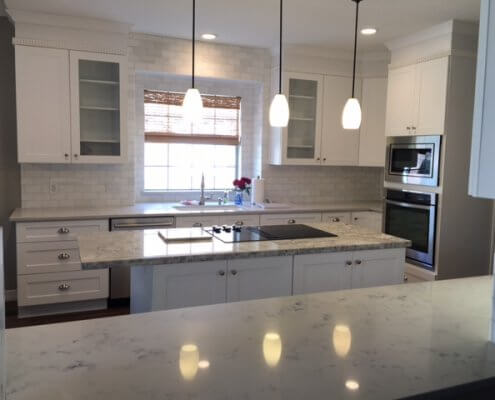 White Shaker Cabinets with Glass Doors