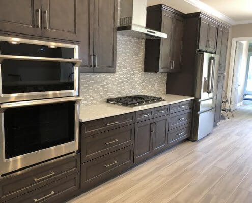 Stone Gray Shaker Cabinets and Stainless Steel Appliances
