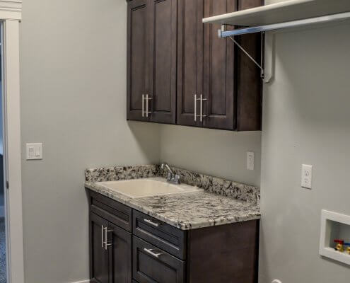 Stone Gray Shaker Cabinets in Laundry Room