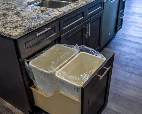 Pull Out Trash Stone Gray Shaker Cabinets
